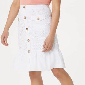 8 Isaac Mizrahi Eyelet Poplin Button Front Shirt